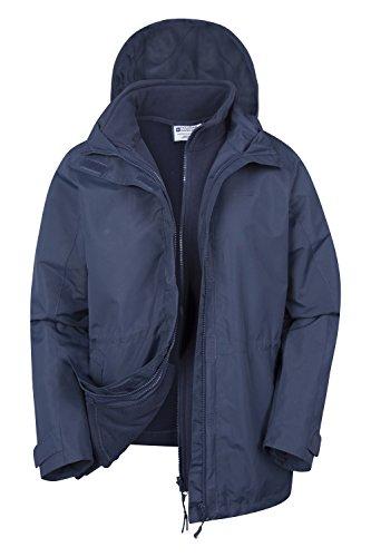 Mountain Warehouse Fell 3-in-1-Jacke für Damen - Wasserbeständiger Mantel, Damenjacke mit verstaubarer Kapuze, Reißverschlusstaschen - Idealer Regenmantel für den Winter Marineblau DE 44 (EU 46) (Jacke Mountain)