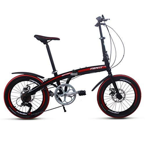 Fahrräder Klapprad Erwachsene Verschiebung 7-Gang-Shift-Doppelscheibenbremse Student Portable, sendet Korb (Color : Black, Size : 20inches)