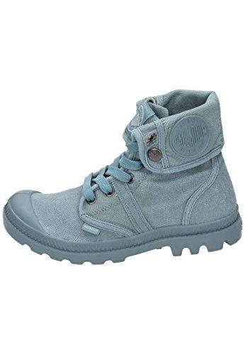 Palladium - Boots toile effet utilisée ou usé, convertible en booty ou bottillons par le cou réversible, avec des lacets et bout en caoutchouc Bleu ciel