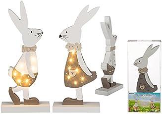 OOTB Weiß/brauner Holz-Hase mit 7 warmweißen LED ca. 27,5 cm, 2-fach sortiert, 2 Batterien (AAA) in PVC-Box 100827
