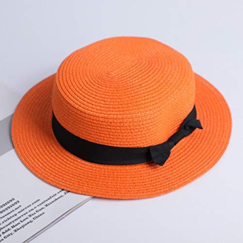 CYRYR Sonnenhüte Ribbon Round Flat Top Strohhut Sommerhüte Für Frauen Strohhut SonnenhüteFlat top Orange Flat top Orange
