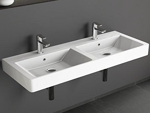 Preisvergleich Produktbild Aqua Bagno Design Keramik Doppel Waschbecken 120 cm Doppelwaschtisch Doppelwaschbecken Möbelwaschtisch