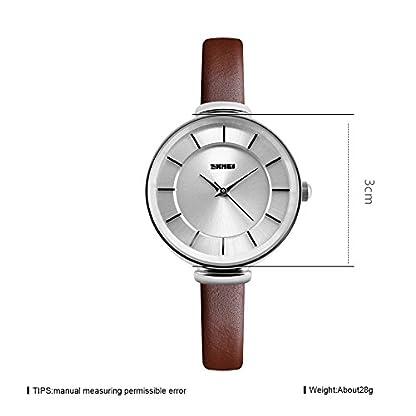 iWatch-Damen-Armbanduhr-Elegant-30m-Wasserdicht-Analog-Quarz-Uhr-mit-Silber-Zifferblatt-und-Braun-Leder-Armband