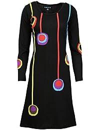 Mesdames robe à manches longues avec le patch multicolore