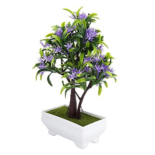 lumen Baum mit Topf Gefälschte Bonsai Silk Plastic Plant Vase für Hochzeit Urlaub Garten Home Decor(Lila) ()