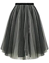 b0d3e21e65 Jumojufol La Mujer Es Elegante Malla Elastica De Alta Cintura Layered Tutu  Tul Falda Midi
