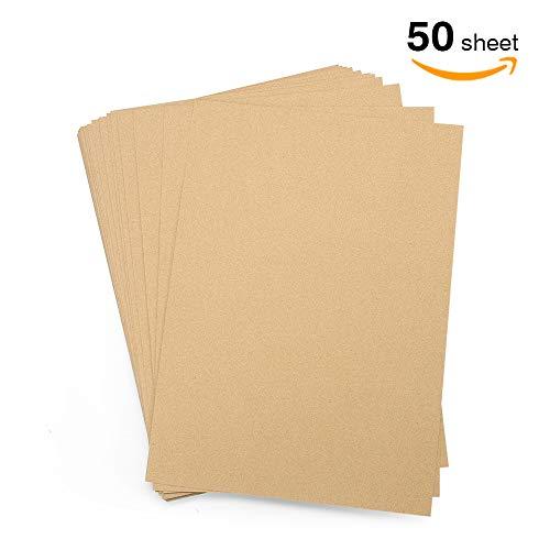 VEESUN Kraft A4 Tonpapier Buntes Papier 260gsm, 29.7*21CM Kopierpapier 50 Blätter din A4, Origami Papier Zuschnitt-Papier Faltpapier Naturkarton Kraftkarton Fotokarton Bastelpapier Pappe zum Basteln (Kraft Origami-papier)