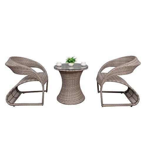 Rattan 2 Balkone Gartenstühle 1 Tischleuchte Gartenmöbel