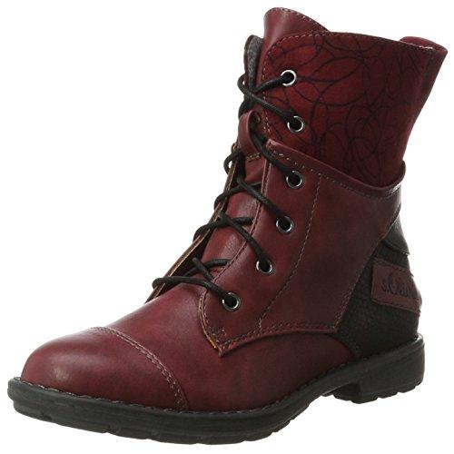 s.Oliver Mädchen 45201 Combat Boots, Rot (Dark Red), 33 EU (Combat Mädchen Boots)