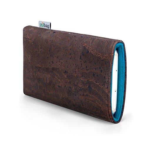 stilbag Funda para teléfono móvil Vigo para Xiaomi Mi Mix 2s | Bolsa para Celular Smartphone Made in Germany | Corcho marrón, Fieltro de Lana Azul