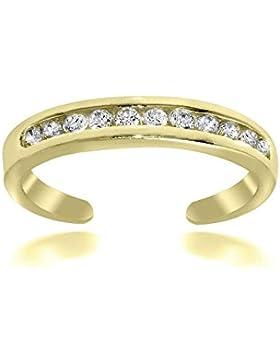Luxuriöser Zehenring mit Zirkonia Diamanten, 24 Karat Gold Vermeil