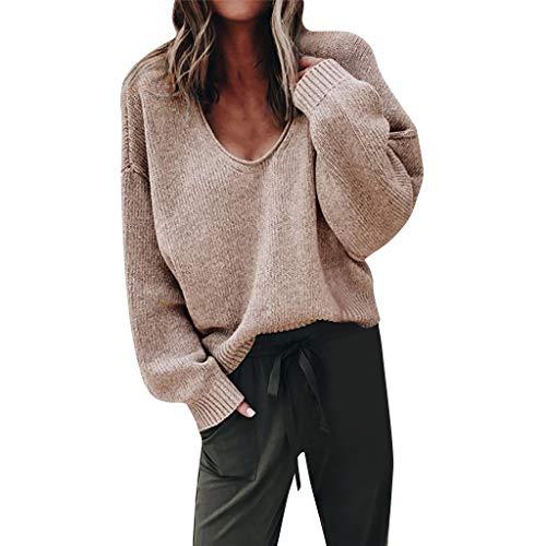Eternali Damen Winter Trend Strickpullover Jumper Sexy V-Ausschnitt Strickjacken Sweater für Frauen Gemütliche Waffel Knitted Sweatshirt Mäntel Mode Lässig Lose Pulli Pullover Oberteil