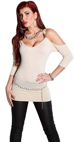 In Style–Maglietta da donna senza spalline e scollatura rotonda, taglia unica (32–38) Beige