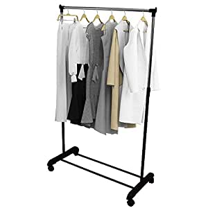 Oypla Adjustable Single Mobile Clothes Garment Hanging Rail With Wheels