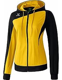 Erima Club 1900 - Sudadera deportiva para mujer (con capucha y cierre de cremallera), color negro y amarillo multicolor amarillo y negro Talla:34