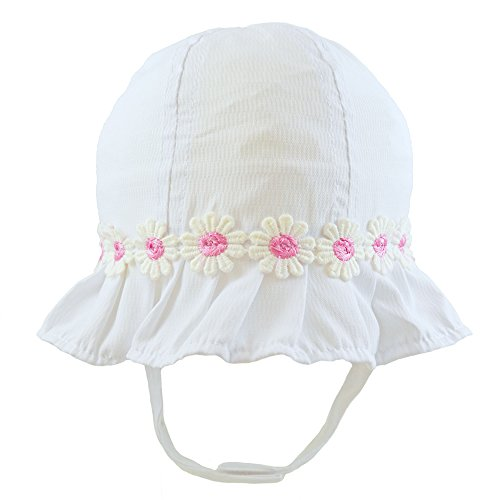 Pesci Baby Baby Girls Summer Sun Hat With Chinstrap and Daisy Flowers. Bonnet Style Beach Hat 0-3 3-6 6-12 12-18 Months (White, 0-3 Months)