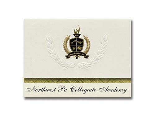 Signature Announcements Northwest Pa Collegiate Academy (Erie, PA) Abschlussankündigungen, Präsidential-Stil, Grundpaket mit 25 goldfarbenen und schwarzen metallischen Folienversiegelungen