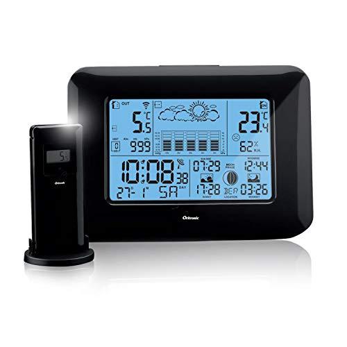 Oritronic Wetterstation Funk mit Außensensor,Innen-und Außenthermometer,Digitai Hygrometer für innen, Wettervorhersage,Mondphase,Zeitanzeige,Weckalarm(Schwarz)
