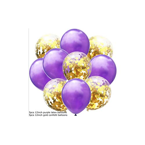 t 12inch Confetti Air Balloons Happy Birthday Party Balloons Helium Balloon Decorations Wedding Balloons Party Supplies,5purple 5 Gold Con ()