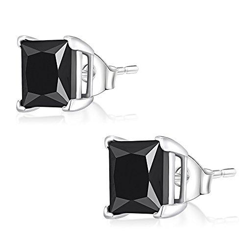 Ohr-Stecker Ohrringe 925er Silber Schmuck, Eckig Zirkonia Schwarz | 3 - 8 mm, Größe:4.0 x 4.0 mm - Eckigen 4 Stecker 3