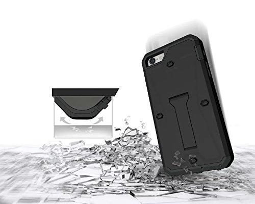 iPhone SE cas,lantier [heavy duty] réservoir 3 en 1 combo étui de protection complet du corps hybride avec béquille et construit en protection d'écran pour Apple iPhone SE or Tank Black