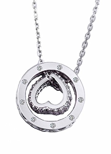 korpikus® Metall Jewelled Ring hohle Herzen Halskette KOSTENLOSER Organza Geschenktüte - (Silber)