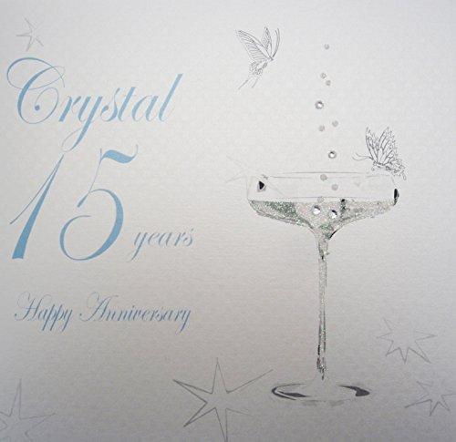 """White Cotton Cards bd115 - Biglietto d'auguri per 15esimo anniversario, con scritta """"Happy Anniversary Crystal 15 Years"""" e calice, colore: Bianco"""