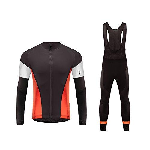 Uglyfrog Cycling Kit Radsport Fahrradbekleidung Set Anzüge Herren Long Trikots + Lange Bib Hosen Gel Pad Spring/Autumn Atmungsaktiv Professionell Triathlon Clothes