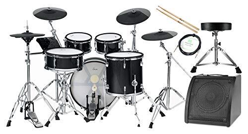 XDrum DD-670 Mesh E-Drum Kit - elektronisches Schlagzeug mit echter HiHat - Pads aus Holz mit Mesh Heads - 720 Sounds - inklusive Hardware, Hocker, Monitor, Kabel und Sticks - Black Sparkle