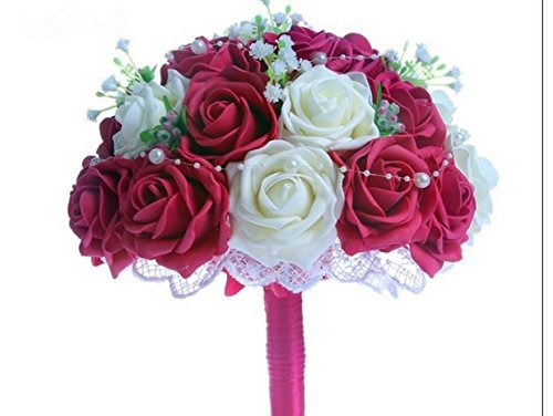 Hestian 10 Hot Pink and White Roses