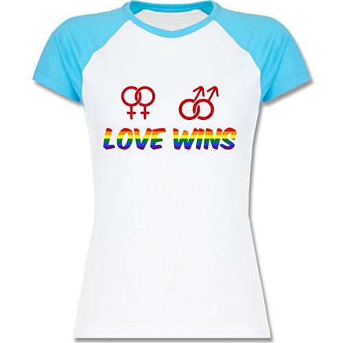 Statement Shirts - Love Wins - zweifarbiges Baseballshirt / Raglan T-Shirt für Damen Weiß/Türkis