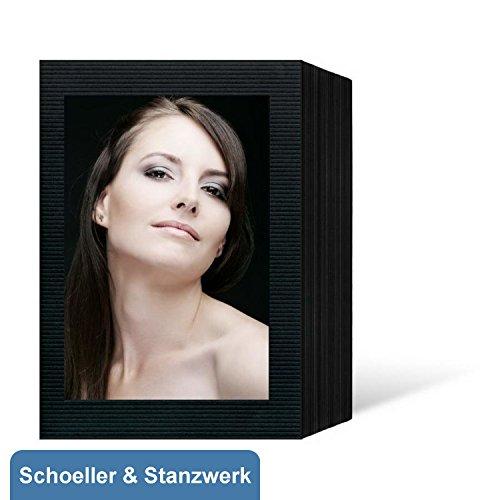 Studio Gerippt (100 Stück Endlosleporellos für 13x18 cm Fotos Hochformat - schwarz - schwarz gerippte Maske - Schoeller & Stanzwerk)