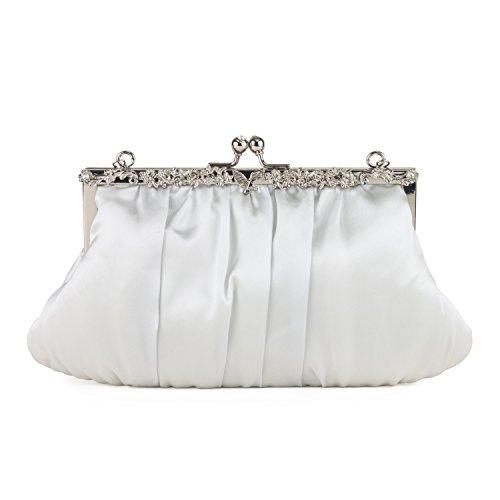 Satin Bag Diamante Frame Bag - Silver Grey (Handtasche Frame Clutch Satin)