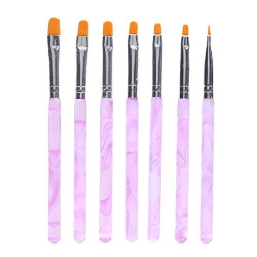 #MAKARTT 7 Stücke/Set 2 Flach UV Gel Pinsel Set Acryl Nagelkunst Nail Art Painting Draw Brush Pen Set Tips Builder#