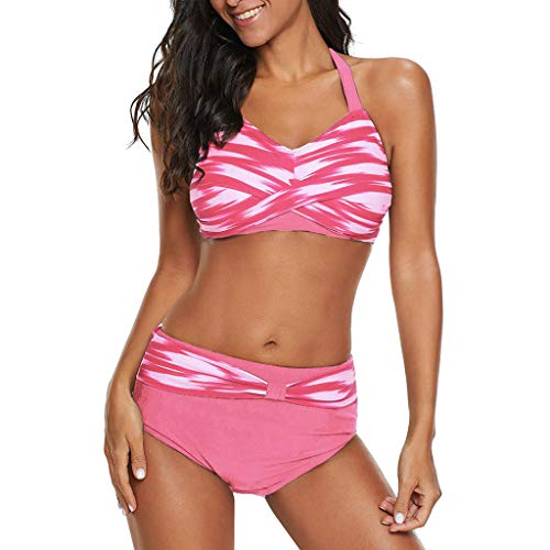 LOLIANNI Frauen Striped Bikini Set Damen Sommer Badeanzug Push-up Badeanzug Plus Size High Waisted Beachwear