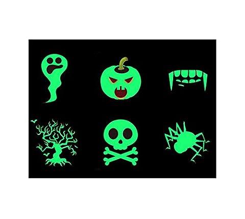 Luminous Tattoo Stickers for Women,Anger Pumpkin Skull and Fangs Design Halloween Themed Tattoo