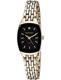 Armitron Women's 75/5195BKGP Diamond Accented Black Dial Gold-Tone Bracelet Watch