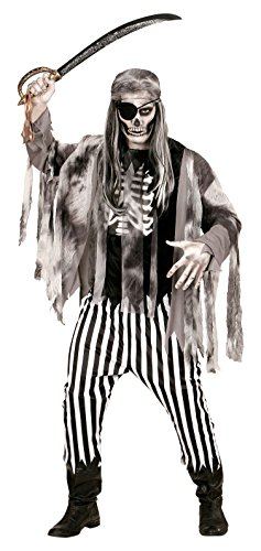 Widmann 05813 - Erwachsenenkostüm Geisterschiff Pirat, Shirt mit Rippenaufdruck, Jacke, Hose und Bandana, Gröߟe L, schwarz