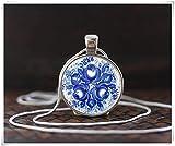 Collar con impresión azul rusa, joyería tradicional de arte ruso, collar ruso folk, joyería de arte étnico, collar étnico