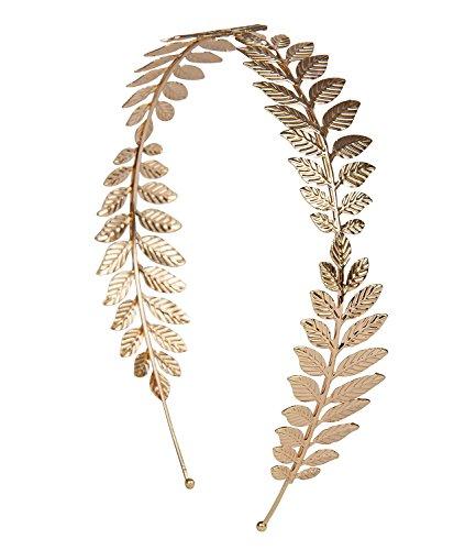 SIX goldener Haarreif aus Metall mit Blättern, Kranz-Optik ()