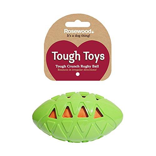 Rosewood 40327 robuster Hunde-Rugbyball aus Gummi für Spielereien innen und außen, Medium, Länge: 12cm