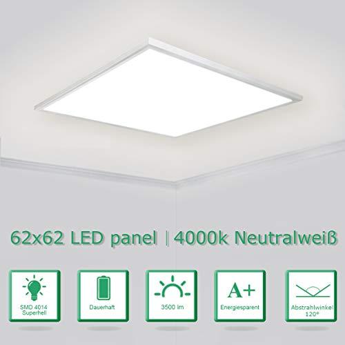 [PRO High Lumen]OUBO Ultraslim LED Panel Lampe 62 x 62cm / 36W / 3500 Lumen / Naturweiss 4000K mit Weissrahmen Einbauleuchten Deckenleuchten