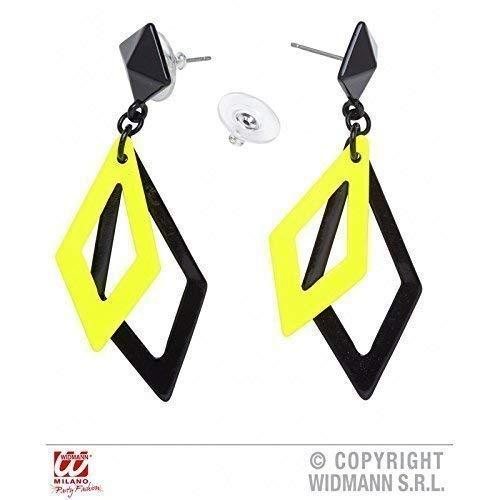 Ohrringe Schwarze Kostüm - Lively Moments Freche gelb - Schwarze Ohrringe passend zu Kostümen der 80er oder Disco