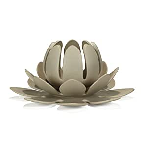 lotus photophore en gr s taupe forme n nuphar d30cm taupe. Black Bedroom Furniture Sets. Home Design Ideas