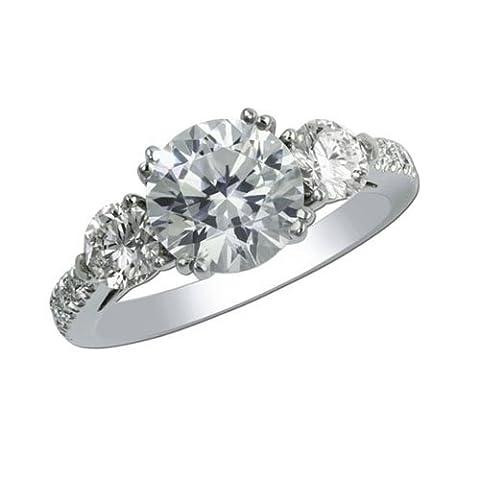 Forever Diamond - 14K White Gold 14 Karat Weißgold Rundschliff Hochfeines Weiß +/River (D)