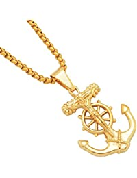 MCSAYS Hip Hop Jewelry Golden Rudder Anchor Pendant Stainless Steel Round Box Chain Amulet Necklace Fashion Accessories