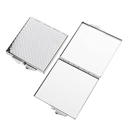 Sharplace 2pcs Portable Miroir de Maquillage Recto-verso Pliant - Mini Cosmétique Miroir à Coiffage - Carré