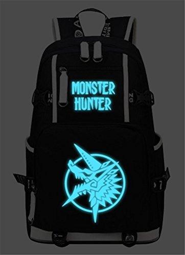 siawasey Monster Hunter Cosplay Luminous Segeltuch Rucksack Schultertasche Schule Tasche für 38,1cm Laptop Fell Hunter