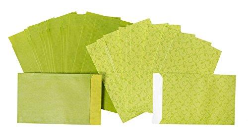 20pezzi SACCHETTI regalo verdi o sacchetti regalo (2Designs, ogni 10pezzi); piatta sacchetti carta in rosa; Taglia: 9,5x 14cm + 2cm linguetta; 1A qualità