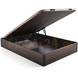 Hogar24.es. Canapé abatible madera gran capacidad con tapa 3D y válvulas de transpiración, incorpora 4 patas en madera maciza, color wengé 150X190